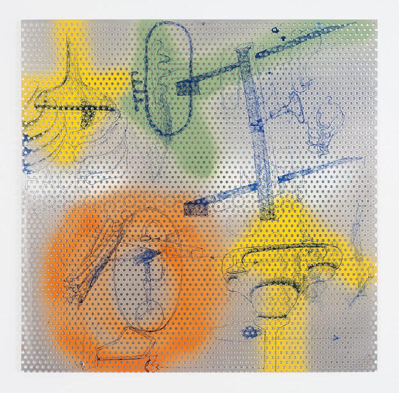 Sant-Fiacre, 2007, sérigraphie recto verso sur aluminium perforé 50 x 50 cm, 12 exemplaires, éditeur Éric Seydoux, © A. Ricci