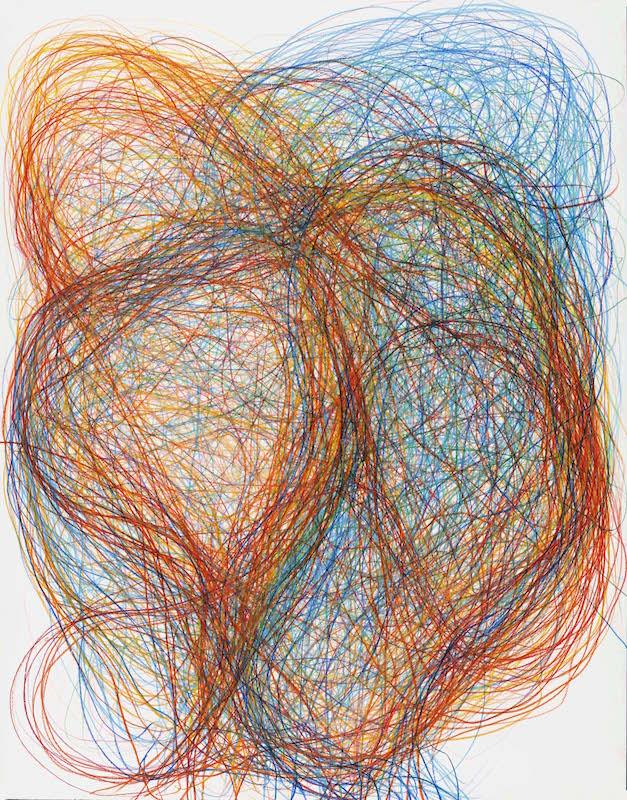 Gilgian Gelzer, sans titre, 2018, crayons de couleur sur papier, 140 x 110 cm / P. Touzard © Musée des Beaux-Arts de Caen