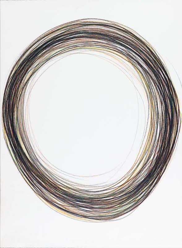 Gilgian Gelzer, sans titre, 2018, crayon polychrome sur papier, 76 x 56 cm/ P. Touzard © Musée des Beaux-Arts de Caen